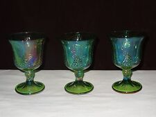 Lot 3 Vintage Iridescent Indiana Carnival Glass Lime Green Wine Goblets 5 1/4""