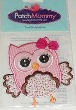 PINK OWL with BOW & PEARL Embroidered iron-on Patch NEW 4""