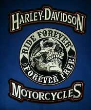 Harley Davidson Rocker patches W/ 9'' round  ''RIDE FOREVER FOREVER FREE'' Patch