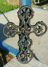 Metal Rustic Cast Iron Fleur De Lis Emblem Christ Cross Hanging Wall Plaque