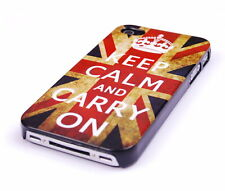 Schutzhülle f iPhone 4 4S 4G Tasche Case Cover England GB UK Keep Calm carry on