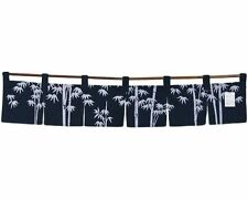 "Japanese 47""x9.75"" 6-panel Business Restaurant Navy Bamboo Leaves Divider Noren"