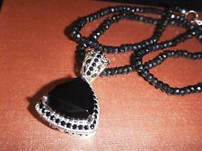 Thai Black Spinel Silver/14K YG  Pendant w' Faceted Bead (2mm/Round) Necklace