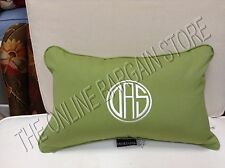 Frontgate Outdoor All Weather Lumbar Pillow Solid Green Monogram DAS 13x20