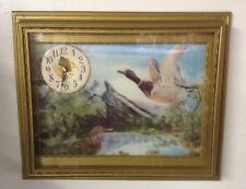 Vintage Clock With Ducks - Flicker 3D Look Made In Taiwan - Hunting Cabin