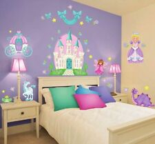 37 New PRINCESS WALL DECALS Castle Carriage Fairy Unicorn Stickers Room Decor