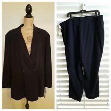NWT JONES NEW YORK ESSENTIALS Woman Dark Blue Blazer 22W Pant Suit Size 24W