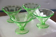 Set of 4 Green Depression Glass Dessert Dishes