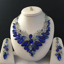 BLUE SILVER INDIAN COSTUME JEWELLERY NECKLACE EARRINGS CRYSTAL SET BRIDAL NEW
