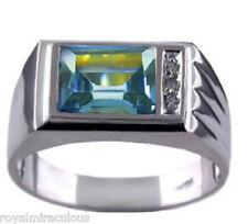 Mens Diamond Ring Blue Topaz 14K Yellow or White Gold Band