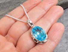 """925 argento blu topazio pendente con collana catena 20"""" p423 ~ silverwave * UK Jewellery"""