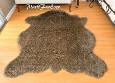 60 x 72 Black Tip Coyote Accent Faux Fur Area Rug Bison Buffalo PlushFurEver