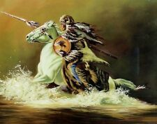 INDIAN WARRIOR ON  HORSE 10x8 In Native American Theme Art Print