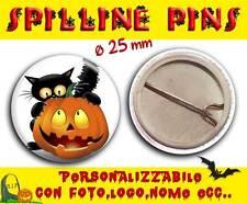 Spilla Spillina Pins 25 mm Collezione Halloween gatto nascosto - zucca simpatica