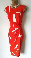 PHASE EIGHT Red Dress 12 BNWT Costa Rica Ruched Stretch Wiggle Party