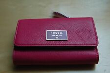 NWT Fossil Dawson Leather Wallet - Pomegranate - 100% AUTHENTIC