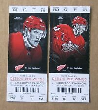 Red Wings Justin Abdelkader & Drew Miller ticket stubs vs Canucks & Avalanche