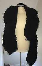 **MARIOS SCHWAB** Black Knitted Fringe Jacket Cape