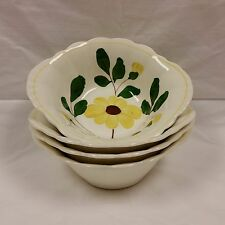 """Hand Painted BLUE RIDGE POTTERY """"Yellow Nocturne"""" Lug Cereal Bowls Set of 4 MCM"""