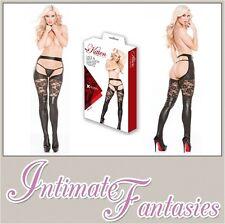 Sexy noir aspect mouillé & dentelle porte-jarretelles collants jarretière bas taille 8 10 12 14