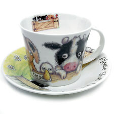 Roy Kirkham Please Shut The Gate Large Breakfast Cup & Saucer Pig Cow Sheep Duck