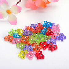 30PCS 9x11mm FROSTED ASSORTED ACRYLIC MIXED COLOR BUTTERFLY BEAD CHARM F&125