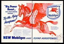 1945 Pegasus BIG red flying horse art Mobil Oil gas vintage print ad
