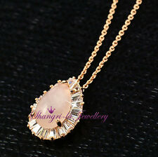 18K GOLD GF Pink ROSE QUARTS Teardrop LOVE STONE NECKLACE Swarovski CRYSTAL L344