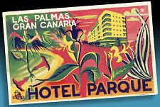 ALTER KOFFERAUFKLEBER | HOTEL PARQUE LAS PALMAS   VINTAGE LUGGAGE LABEL SPAIN