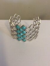 Lucky Brand Cuff Silver Tone Turquoise Beaded Bracelet #182 (2)