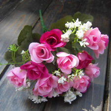 Artificial Rose Silk Flower Heads 5 Branches Plastic Leaf 1 Bouquet of 15 Flower