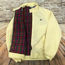 VTG Izod Lacoste Men's Sz M Full Zip Jacket Lined Yellow Cotton Blend front logo