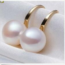 Genuine 11-12mm White Akoya Freshwater Pearl  Gold Plated Dangle Earrings