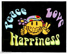 "PEACE / LOVE / HAPPINESS  EMBROIDERED PATCH 13 X 10CM (5"" X 4"")"