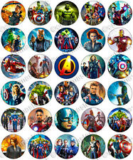 30 x Avengers Movie Party Edible Rice Wafer Paper Cupcake Toppers