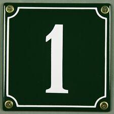 """Grüne Emaille Hausnummer """"1"""" 12x12 cm Hausnummernschild sofort lieferbar Schild"""