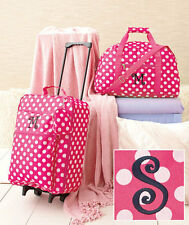 3 Pc Girls Monogram Luggage Sets LETTER S Rolling Suitcase Duffel Bag & Clutch