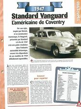 Standard Vanguard 1947 Great Britain Grande Bretagne Car Auto FICHE FRANCE