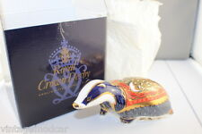 Royal Crown Derby Moonlight Badger SIGNED Paperweight + Original Box & Gold Butt