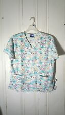 CREST WOMEN'S LARGE SCRUB TOP MULTI COLOR FLORAL WITH BUTTERFLIES S/S