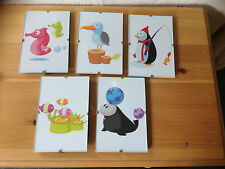 SET OF FIVE IKEA KORT ART PRINTS (SEA LIFE) IN GLASS CLIP PICTURE FRAMES 4 X 6""