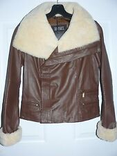 NEW Badgley Mischka Leather & Genuine Shearling Moto Jacket XS *(Extra Small)*