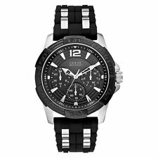 Guess Men's Iconic Black Dial SS / Silicone Strap Watch U0366G1