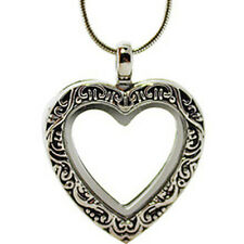 Floating Charms Antique Silver Magnetic Glass Heart Living Locket Necklace