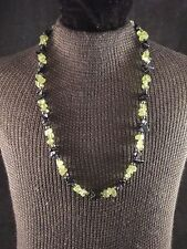 "16"" Black & Green Stone Beaded and Sterling Silver Necklace"