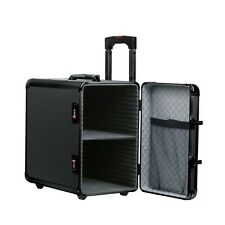 BLACK ALUMINIUM WHEELED STORAGE CASE SIDE ACCESS WITH 12 TRAYS (BD861K7B)