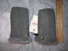 UGG Gloves Fingerless Mittens Sheepskin Shearling L/XL Gray NEW