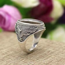 Men Vintage Fine Ring Sterling Silver 925 Antique 15x20mm Oval Cabochon Setting