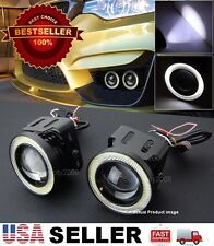 "Pair 3"" White DRL COB LED Halo Ring Driving Projector Fog Light For Mazda Subaru"