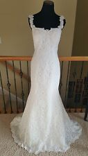 NEW! Retail $2400 Pronovias Pruva 2016 Ivory Lace Mermaid Wedding Dress Size 12